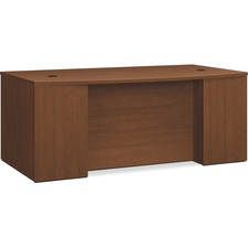 """HON Foundation Shaker Cherry Laminate Desk Shell - 72"""" x 42"""" x 29""""Desk Shell, 1"""" Top Panel, 1"""" End Panel - Square Edge - Material: Particleboard Modesty Panel - Finish: Shaker Cherry, Thermofused Laminate (TFL)"""