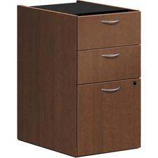 "HON Foundation Shaker Cherry Laminate Desking Pedestal - 3-Drawer - 15.4"" x 20.4"" x 27.8"" - 3 x Box Drawer(s), File Drawer(s) - Material: Steel Suspension - Finish: Thermofused Laminate (TFL), Shaker Cherry, Silver Handle"