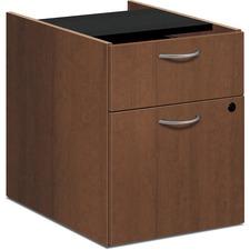 "HON Foundation Shaker Cherry Laminate Desking Pedestal - 2-Drawer - 15.6"" x 20.4"" x 20.6"" - 2 x Box Drawer(s), File Drawer(s) - Material: Metal Handle, Steel Suspension - Finish: Thermofused Laminate (TFL), Shaker Cherry, Silver Handle"