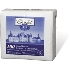 """Chalet 2-ply Dinner Napkins - 2 Ply - 1/8 Fold - 15"""" x 16"""" - White - Wet Strength, Durable - For Food Service, School, Office, Restaurant - 100 Per Pack - 100 / Pack"""