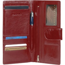 "MANCINI EQUESTRIAN-2 Carrying Case (Wallet) Passport - Red - Top Grain Leather - 8.50"" (215.90 mm) Height x 4.75"" (120.65 mm) Width x 0.50"" (12.70 mm) Depth"