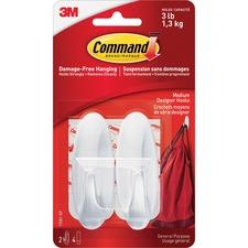 Command Medium Designer Hook - 1.36 kg Capacity - for Indoor, Painted Surface, Wood, Tile - White - 1 / Pack