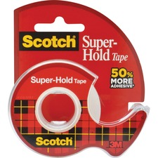 """Scotch Super-Hold Invisible Tape - 18 yd (16.5 m) Length x 0.75"""" (19 mm) Width - Dispenser Included - 1 Each - Clear"""