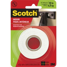 "Scotch Mounting Tape - 1"" (25.4 mm) Width x 5 ft (1.5 m) Length - Foam - Strong, Double-sided, Heavy Duty - 1 - Clear"