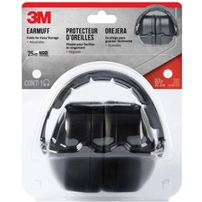 3M Folding Earmuff - Foldable, Cushioned, Comfortable, Adjustable, Noise Reduction - Noise Protection - Black - 1 Each