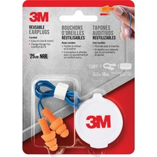 3M Corded Reusable Earplugs - Recommended for: Ear - Reusable, Corded, Comfortable, Washable, Noise Reduction - Noise Protection - Orange - 1 / Pack