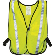 3M Reflective Yellow Safety Vest - Breathable, Lightweight, High Visibility, Cell Phone Pocket, Light Duty, Reflective - Universal Size - Polyester, Mesh - Yellow - 1 Each