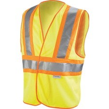 3M Reflective Yellow Safety Vest - Recommended for: Construction - Breathable, Lightweight, Cell Phone Pocket, Light Duty, Reflective, High Visibility - Universal Size - Polyester, Mesh - Yellow, Orange - 5 / Carton
