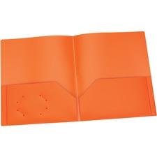 "Oxford Letter Pocket Folder - 8 1/2"" x 11"" - 100 Sheet Capacity - 2 Internal Pocket(s) - Polypropylene - Orange - 1 Each"