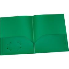 "Oxford Letter Pocket Folder - 8 1/2"" x 11"" - 100 Sheet Capacity - 2 Internal Pocket(s) - Polypropylene - Green - 1 Each"