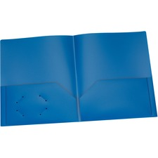 "Oxford Letter Pocket Folder - 8 1/2"" x 11"" - 100 Sheet Capacity - 2 Internal Pocket(s) - Polypropylene - Blue - 1 Each"