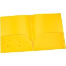 "Oxford Letter Pocket Folder - 8 1/2"" x 11"" - 100 Sheet Capacity - 2 Internal Pocket(s) - Polypropylene - Yellow - 1 Each"