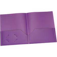 "Oxford Letter Pocket Folder - 8 1/2"" x 11"" - 100 Sheet Capacity - 2 Internal Pocket(s) - Polypropylene - Purple - 1 Each"