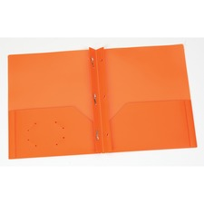 "Oxford Letter Pocket Folder - 8 1/2"" x 11"" - 135 Sheet Capacity - 3 x Prong Fastener(s) - 2 Internal Pocket(s) - Polypropylene - Orange - 1 Each"