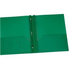 "Oxford Letter Pocket Folder - 8 1/2"" x 11"" - 135 Sheet Capacity - 3 x Prong Fastener(s) - 2 Internal Pocket(s) - Polypropylene - Green - 1 Each"