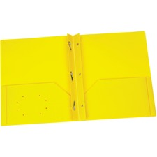 "Oxford Letter Pocket Folder - 8 1/2"" x 11"" - 135 Sheet Capacity - 3 x Prong Fastener(s) - 2 Internal Pocket(s) - Polypropylene - Yellow - 1 Each"