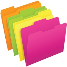 "Pendaflex Glow 1/2 Tab Cut Letter Recycled Top Tab File Folder - 8 1/2"" x 11"" - Neon Green, Neon Orange, Neon Pink, Neon Yellow - 24 / Pack"