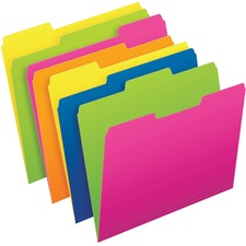 """Pendaflex Twisted Glow 1/2 Tab Cut Letter Recycled Top Tab File Folder - 8 1/2"""" x 11"""" - Top Tab Location - Assorted Position Tab Position - Blue/Yellow, Green/Yellow, Green/Pink, Pink/Orange - 24 / Pack"""