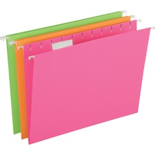 "Pendaflex 1/5 Tab Cut Letter Recycled Hanging Folder - 8 1/2"" x 11"" - Paper Stock - Neon Pink, Neon Orange, Neon Green - 12 / Pack"