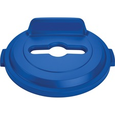 Rubbermaid Commercial BRUTE 32 Gal Lid Mixed Recycling Blue - Round - Resin - 1 Each - Blue