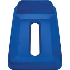 Rubbermaid Commercial Slim Jim Vertical Lid Paper Blue - Rectangular - Resin - 1 Each - Blue