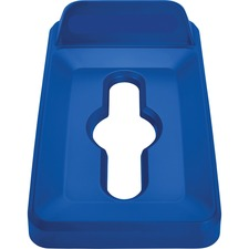 Rubbermaid Commercial Slim Jim Vertical Lid Mixed Recycling Blue - Rectangular - Resin - 1 Each - Blue
