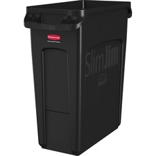 """Rubbermaid Commercial Venting Slim Jim Waste Container - 87.06 L Capacity - Rectangular - Durable, Handle, Vented - 30"""" Height x 11"""" Width x 22"""" Depth - Black - 1 Each"""