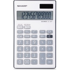"""Sharp 12-Digit Desktop Calculator - Dual Power, Auto Power Off, Built-in Memory, Angled Display - 1 Line(s) - 12 Digits - LCD - Battery/Solar Powered - Battery Included - 1 - LR44 - 1"""" x 3.8"""" x 6.1"""" - Gray - Plastic - Handheld - 1 Each"""