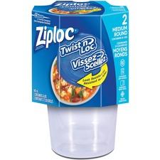 Ziploc® Twist 'n Loc Containers Medium 2/pkg - 946 mL Food Container - Fruit, Vegetables, Soup, Sauce - Dishwasher Safe - Disposable - Microwave Safe - 2 Piece(s) / Pack