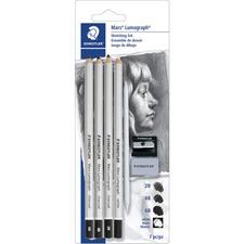 Staedtler Mars Lumograph Charcoal Pencil Set - 2B, 4B, 6B Lead - 7 / Set