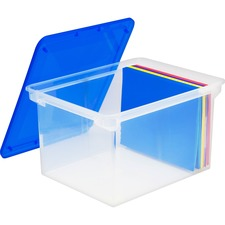 """Storex Storage File Tote - External Dimensions: 18.3"""" Length x 13.9"""" Width x 10.6"""" Height - 35 lb - 35.02 L - 3500 x Sheet, 3000 x Legal Paper - Snap-tight Closure - Heavy Duty - Stackable - Polymer - Clear, Blue - For File, Letter, Document - 1 Each"""