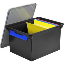 "Storex Storage Case - External Dimensions: 14.5"" Width x 20"" Depth x 11.5"" Height - 35 lb - 35.02 L - 3500 x Sheet - Heavy Duty - Stackable - Plastic - Black, Gray - For Letter, Folder, Document, File - Recycled - 4 / Pack"