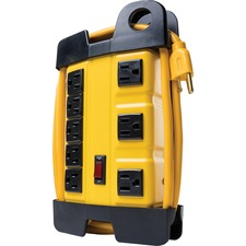 Wood Industries 8-Outlet Power Strip - 8 x AC Power - 6 ft Cord - Yellow, Black