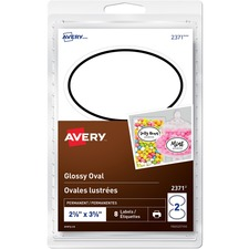 """Avery® Glossy Oval Labels - 2 3/8"""" Height x 3 5/8"""" Width - Permanent Adhesive - Oval - Inkjet, Laser - Glossy White - 2 / Sheet - 4 Total Sheets - 8 / Pack"""