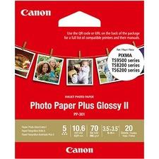 "Canon Plus Glossy II Inkjet Photo Paper - 92 Brightness - 3 1/2"" x 3 1/2"" - 70 lb Basis Weight - Glossy - 20 / Pack"