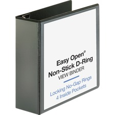 """Business Source Locking D-Ring View Binder - 4"""" Binder Capacity - Letter - 8 1/2"""" x 11"""" Sheet Size - 775 Sheet Capacity - D-Ring Fastener(s) - 4 Inside Front & Back Pocket(s) - Polypropylene, Chipboard - Black - Recycled - Non-glare, Sturdy, Exposed Rivet, Locking Ring, Acid-free, Non-stick"""