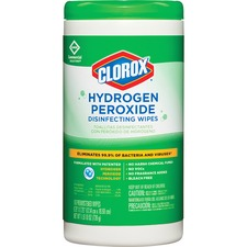 CLO 30830CT Clorox Hydrogen Peroxide Disinfecting Wipes CLO30830CT
