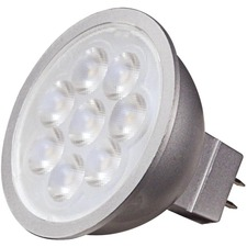 Satco LED Light Bulb - 6.50 W - 50 W Incandescent Equivalent Wattage - 12 V DC, 12 V AC - 500 lm - Reflector - MR16 Size - Silver - Natural Light Light Color - GU5.3 Base - 25000 Hour - 8540.3°F (4726.8°C) Color Temperature - 80 CRI - 40° Beam Angle - Dimmable - 1 Each