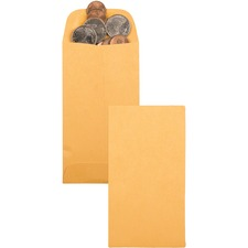"Supremex SPX00677-Coin Envelopes - Coin - #1 - 3 1/2"" Width x 2 1/4"" Length - 24 lb - Gummed - Kraft - 500 / Box - Golden"