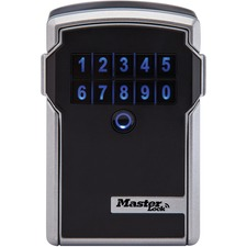 "Master Bluetooth Wall-Mount Personal-Use Lock Box - Electronic Lock - for Key - Overall Size 5"" x 3.3"" x 2.3"" - Silver, Black"