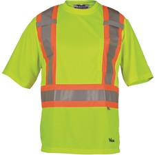 Viking Journeyman Safety T-Shirt Medium Lime Green - Recommended for: Construction, Warehouse, Flagger - Chest Pocket, High Visibility, Breathable, Reflective, Hook & Loop, Cell Phone Pocket, Pen Slot - Medium Size - Polyester, Mesh - Lime Green - 1 Each