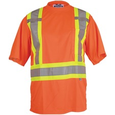 Viking Journeyman Safety T-Shirt Large Orange - Recommended for: Construction, Warehouse, Flagger - Chest Pocket, High Visibility, Breathable, Reflective, Hook & Loop, Cell Phone Pocket, Pen Slot - Large Size - Polyester, Mesh - Orange - 1 Each
