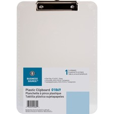 BSN 01869 Bus. Source Flat Clip Plastic Clipboard BSN01869