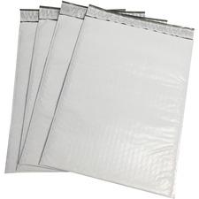 "Spicers Polyethylene Bubble Mailers - Shipping - #4 - 14 1/2"" Width x 9 1/2"" Length - Peel & Seal - Polyethylene - 100 / Box - White, Gray"