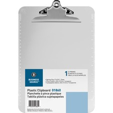 BSN 01860 Bus. Source Spring Clip Plastic Clipboard BSN01860