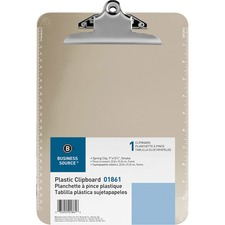 BSN 01861 Bus. Source Spring Clip Plastic Clipboard BSN01861