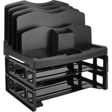 "Business Source Smart Sorter Letter Tray/Organizer - 9 Compartment(s) - 14"" Height x 13.1"" Width x 9.9"" Depth - Desktop - Black"