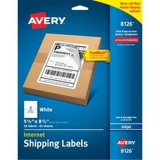 AVE 8126 Avery Inkjet Perforated Internet Shipping Labels AVE8126