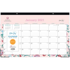 BLS 100021 Blue Sky Write-on Calendar Monthly Desk Pad BLS100021