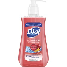 Dial Pomegranate Antibacterial Hand Soap - Pomegranate & Tangerine Scent - 7.5 fl oz (221.8 mL) - Kill Germs - Hand, Skin - Red - Residue-free - 12 / Carton